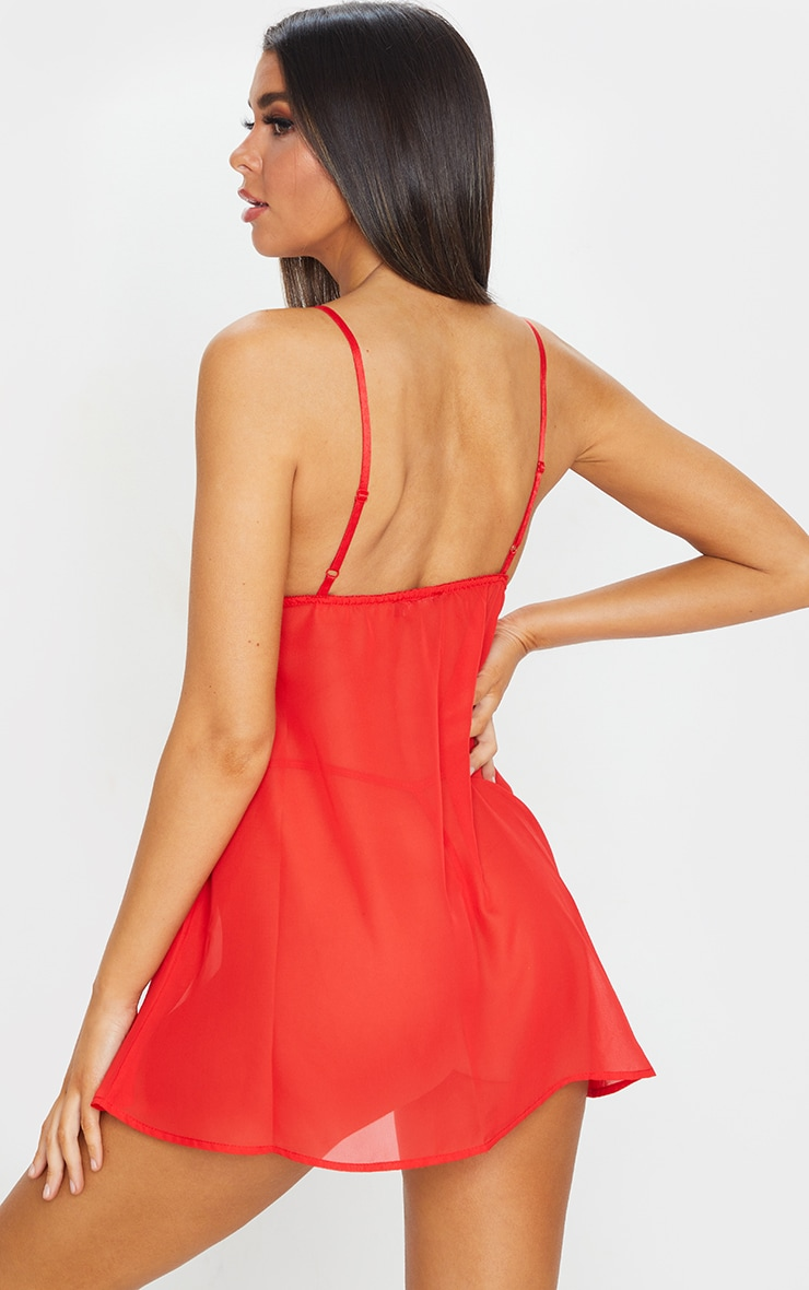 Red Lace Bust Bow Detail Chiffon Babydoll Nightie 2