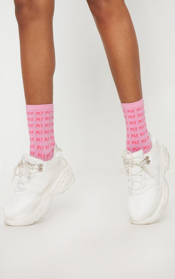 PLT Logo Pink Ankle Socks