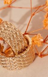 Gold Textured Mini Hoop Earings 3