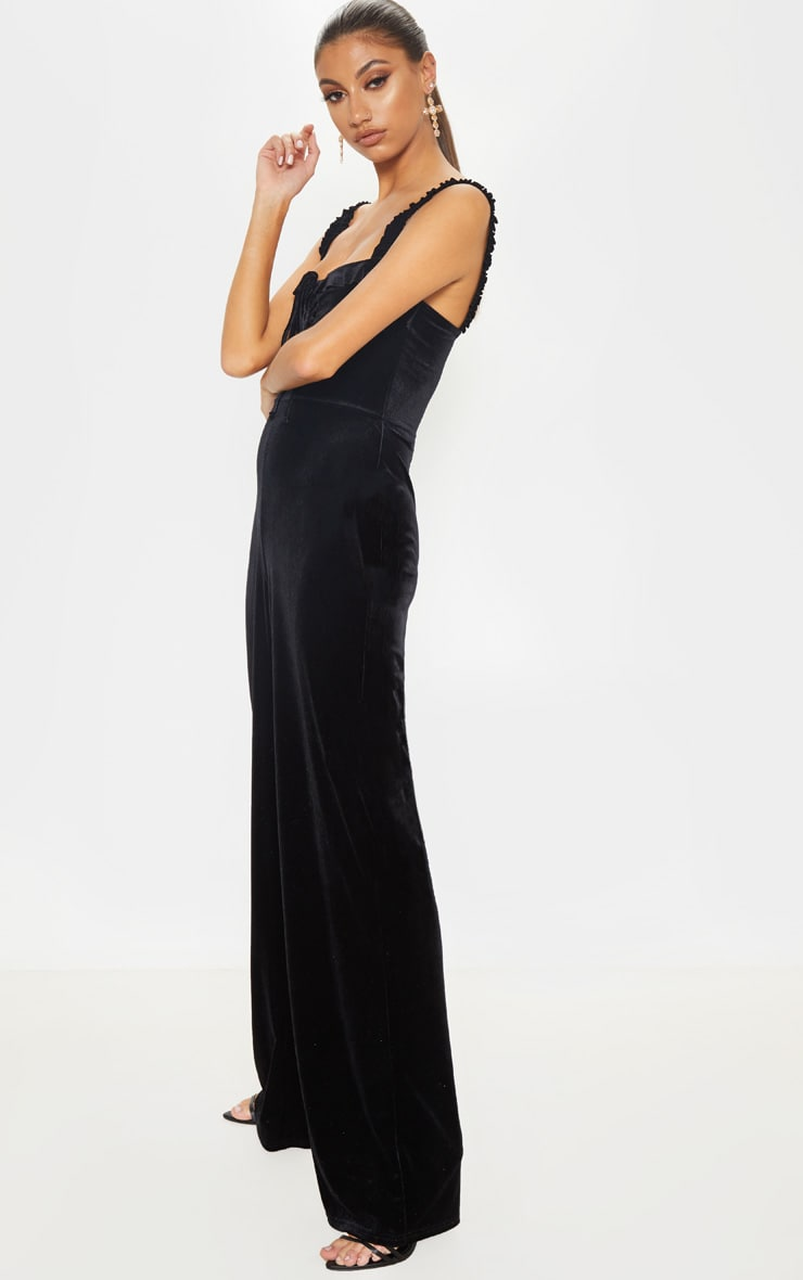 Tall Black Velvet Wide Leg Jumpsuit 4
