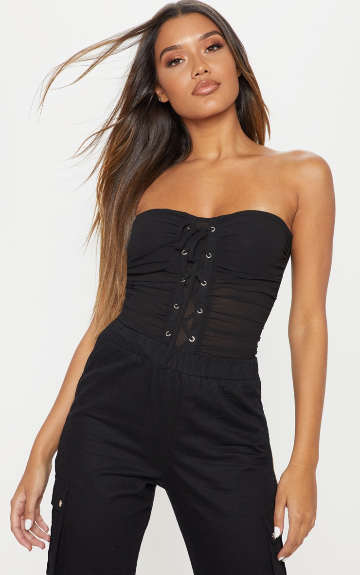 Body bandeau noir en mousseline de soie à laçage frontal, Noir