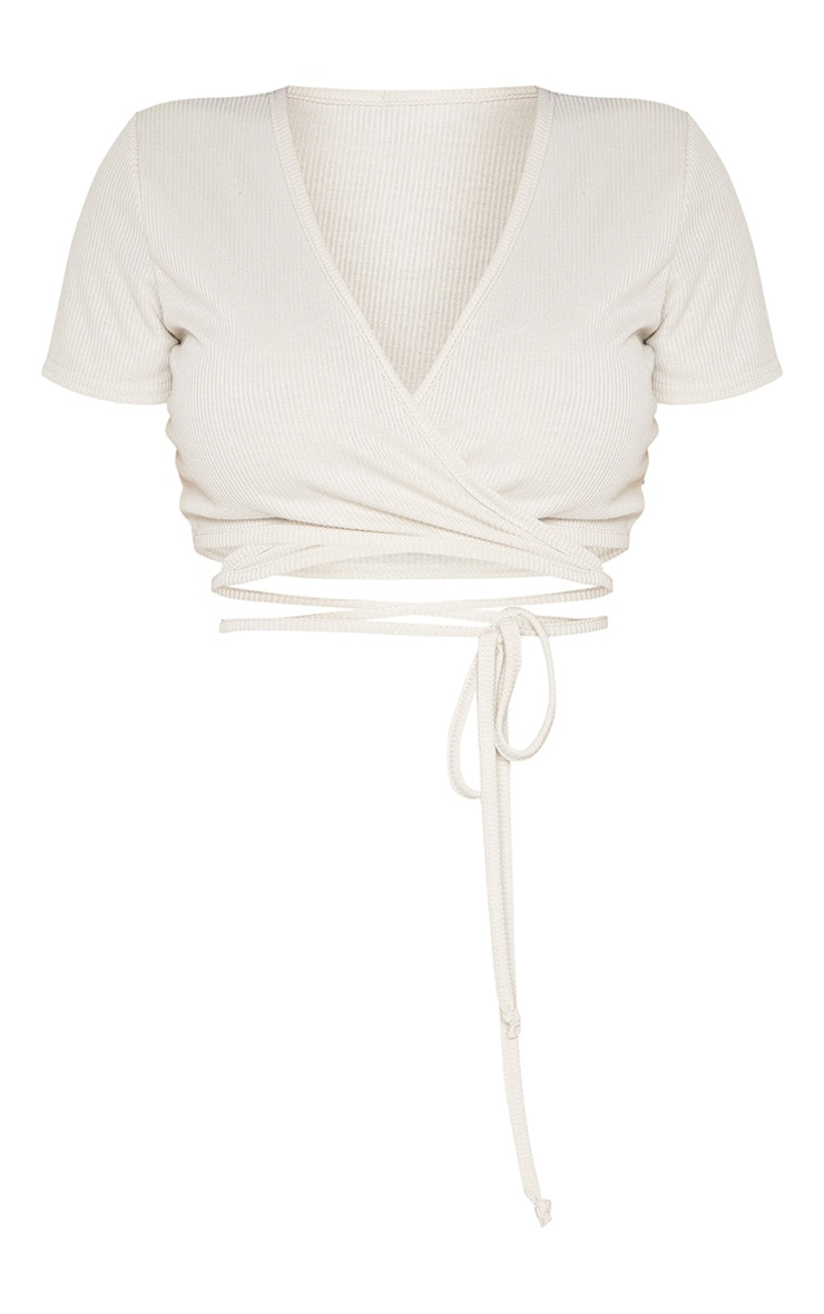 Shape Stone Ribbed Short Sleeve Wrap Waist Crop Top 3