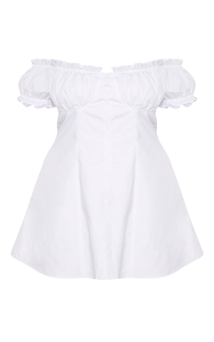 Plus White Button Front Puff Sleeve Shift Dress 3