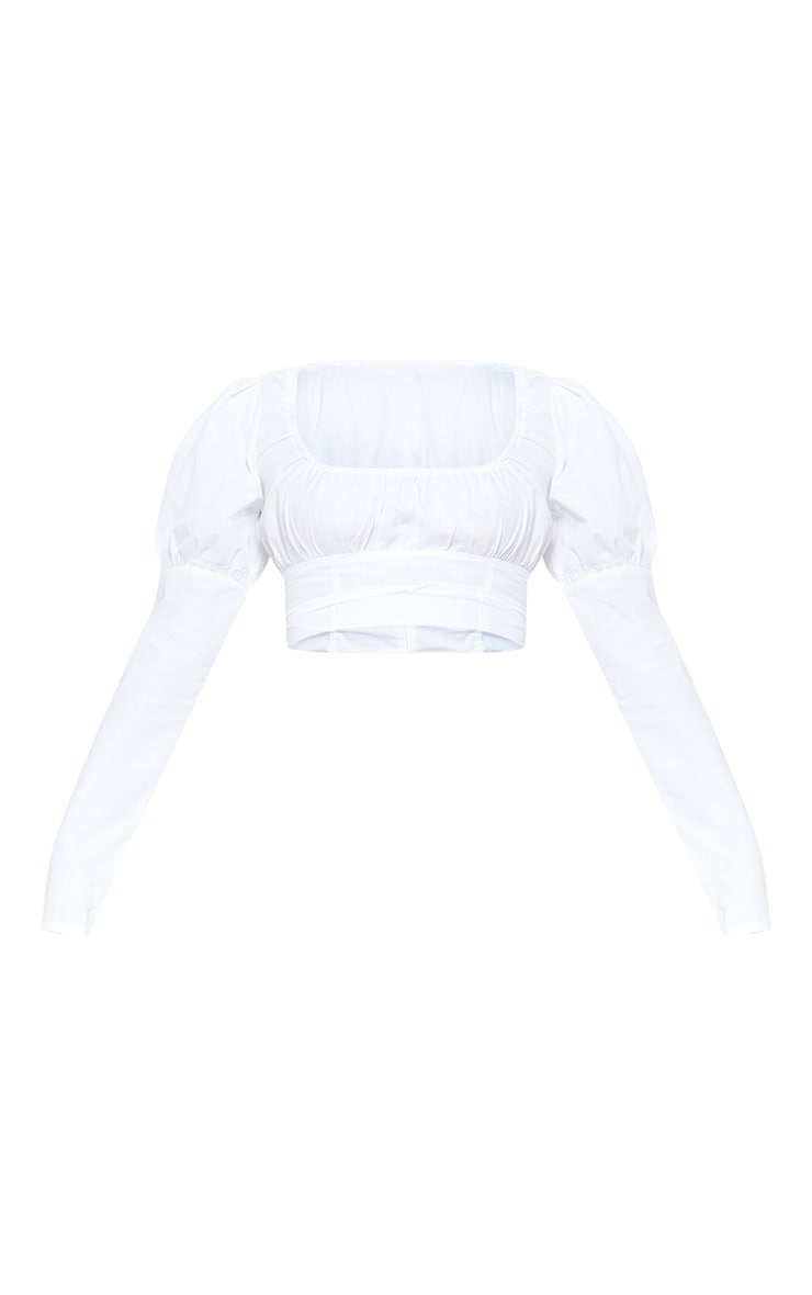 Petite White Puff Sleeve Detail Crop Top 3