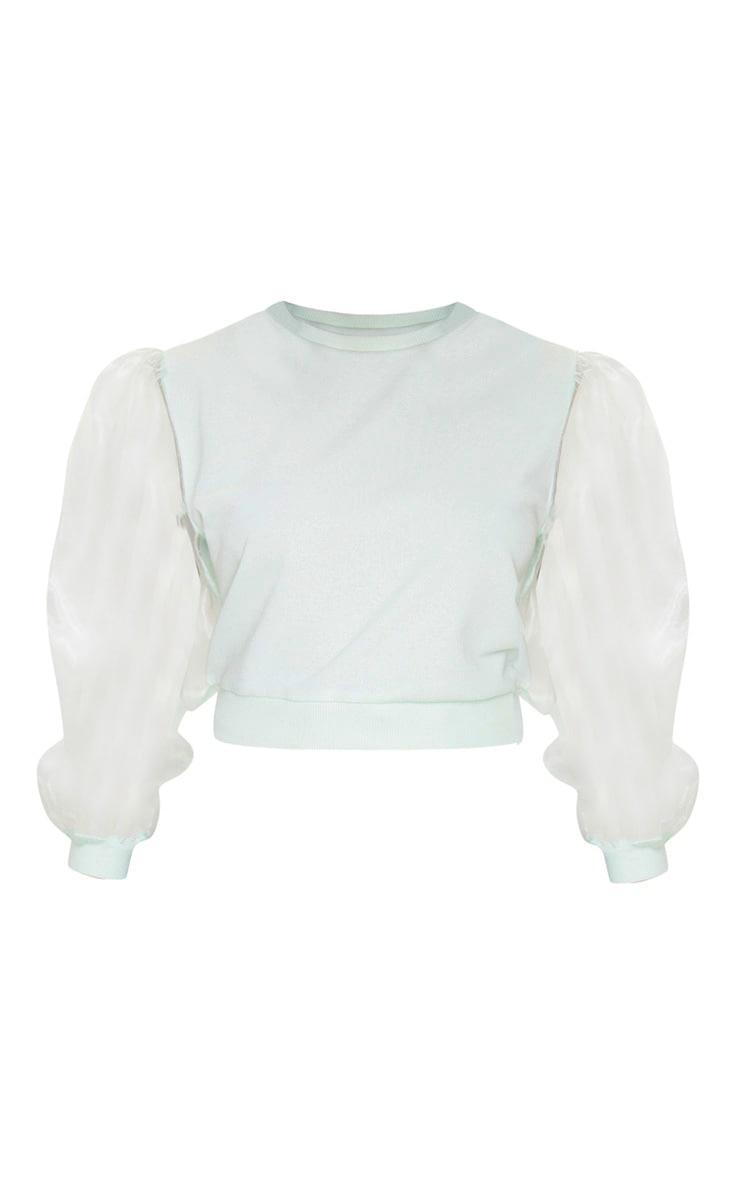 Petite Mint Organza Sleeve Sweater 5