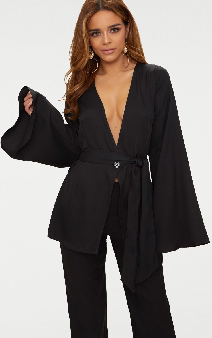 Petite Black Woven Belt Detail Blazer 1