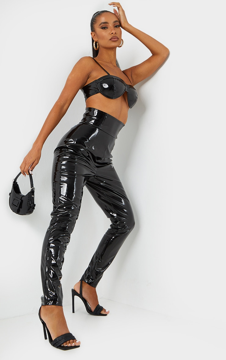 Black Vinyl Skinny Trousers 1
