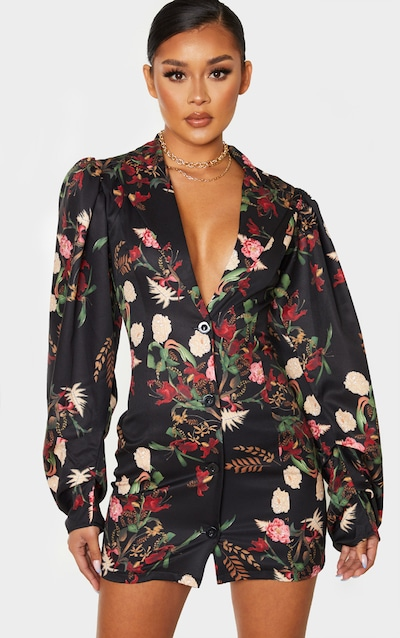 Black Floral Print Balloon Sleeve Button Down Blazer Dress