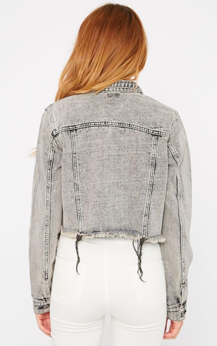 Afra Grey Acid Wash Cropped Frayed Denim Jacket 2
