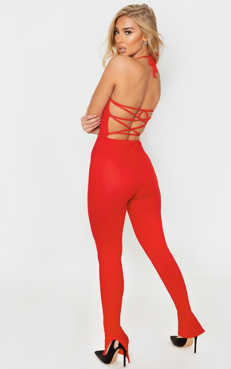 Red Strappy Back Split Hem Jumpsuit 3