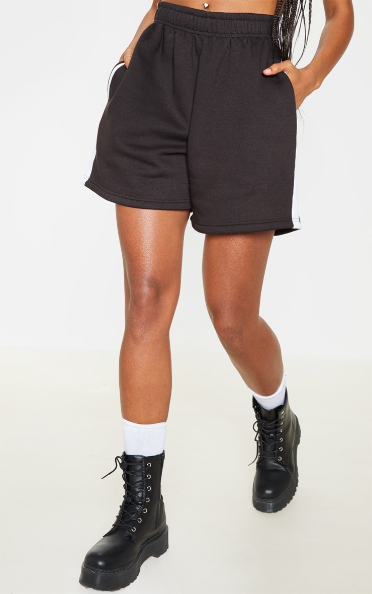 Black Sweat Longline Contrast Side Stripe Short 2