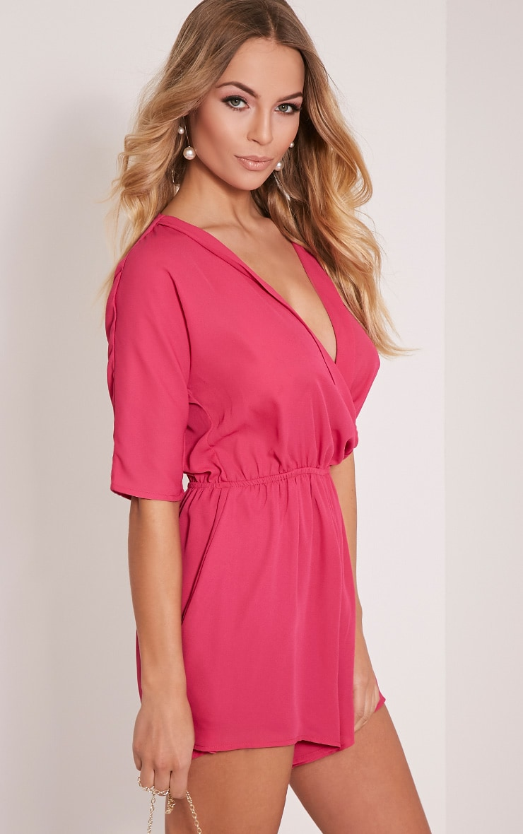 Bobby Hot Pink Wrap Front Playsuit 4