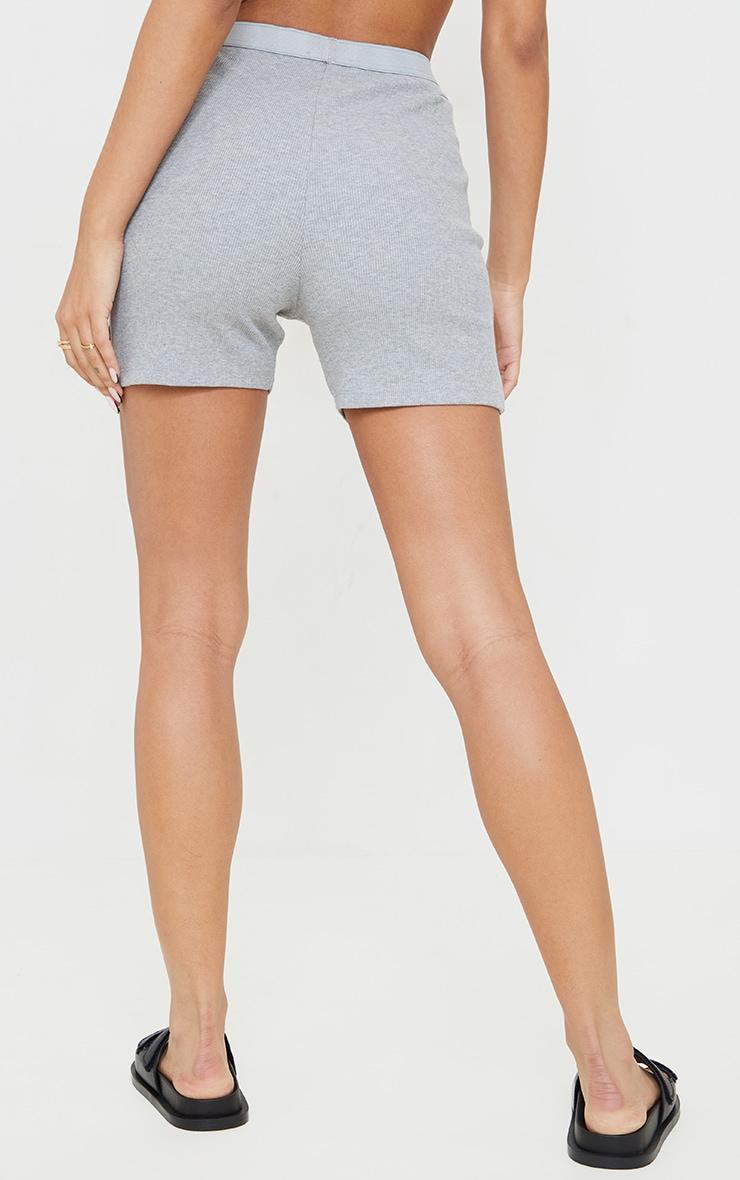 Grey Ribbed Cycle Shorts 3
