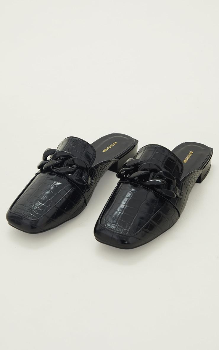 Black PU Croc Chain Detail Mules 3