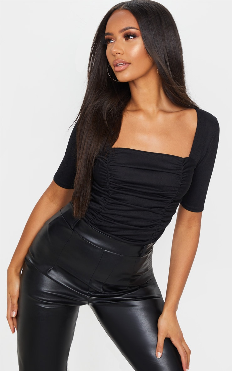 Black Ruched Short Sleeve Bodysuit 1
