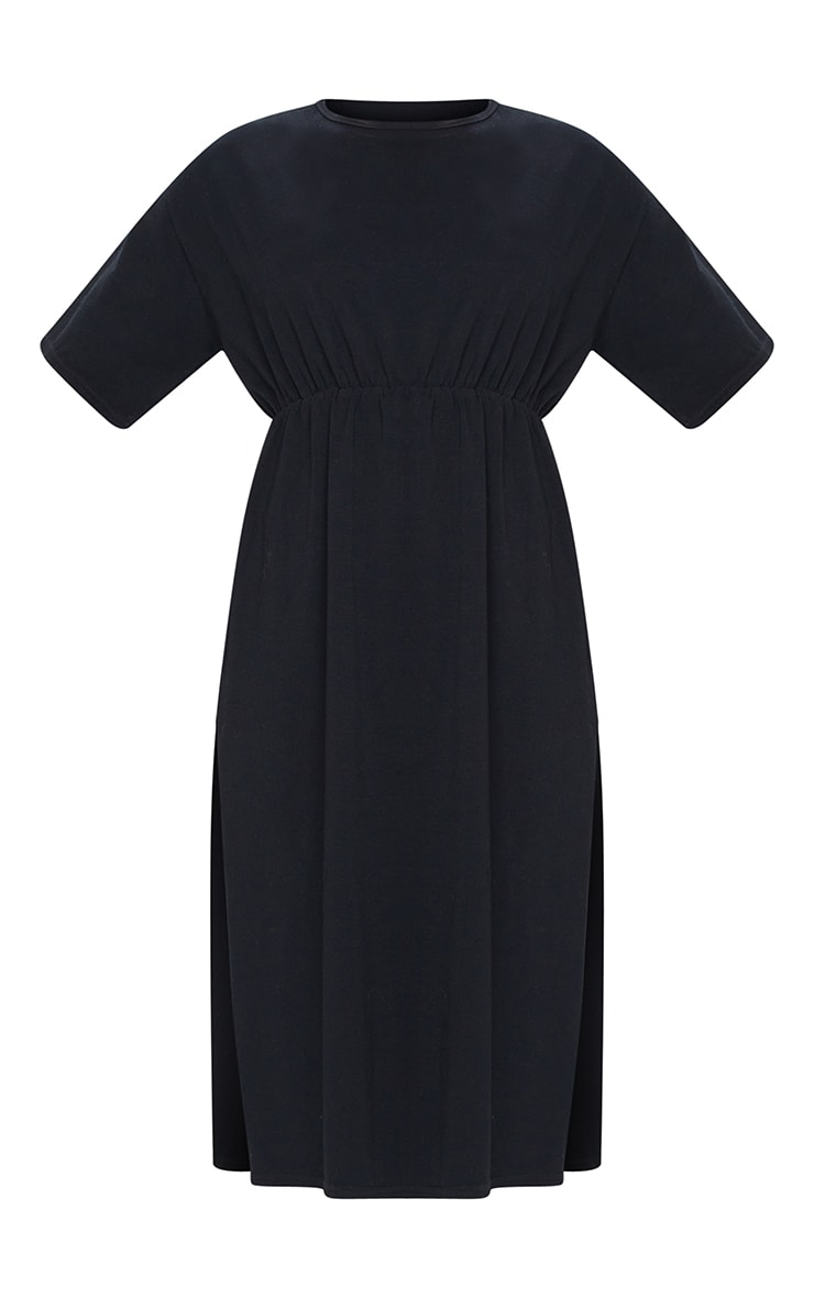 Black T Shirt Split Detail Midi Dress 5
