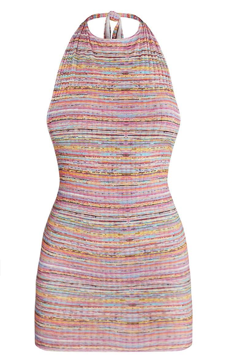 Multi Stripe Print Halterneck Low Back Bodycon Dress 5