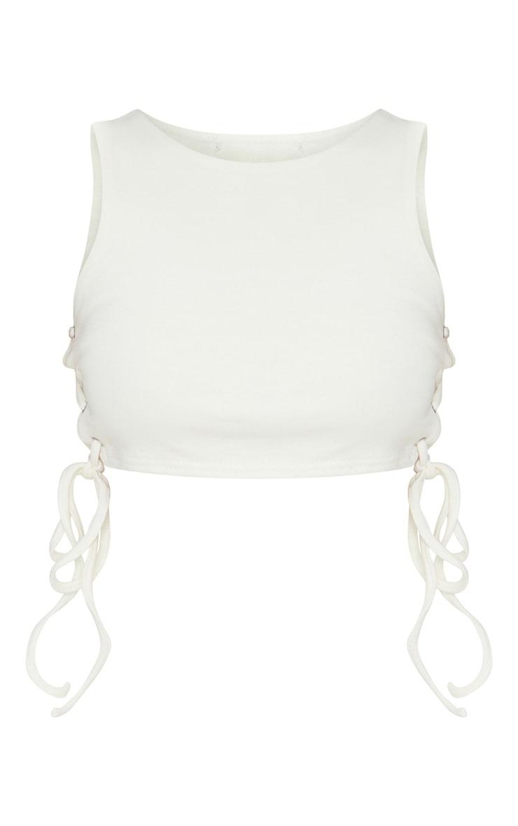Petite Cream Cotton Jersey Lace Up Side Crop Top 5