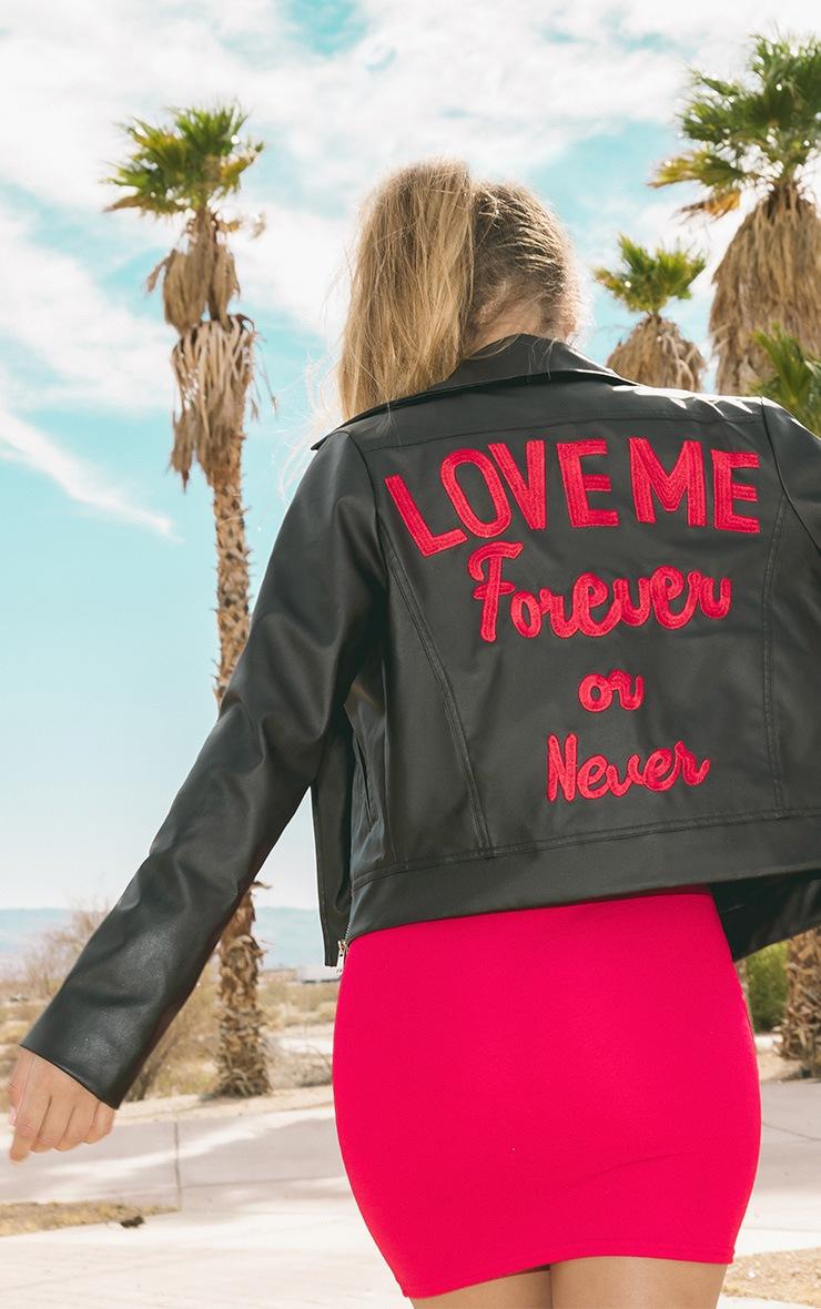 Love Me Forever Slogan PU Biker Jacket 2