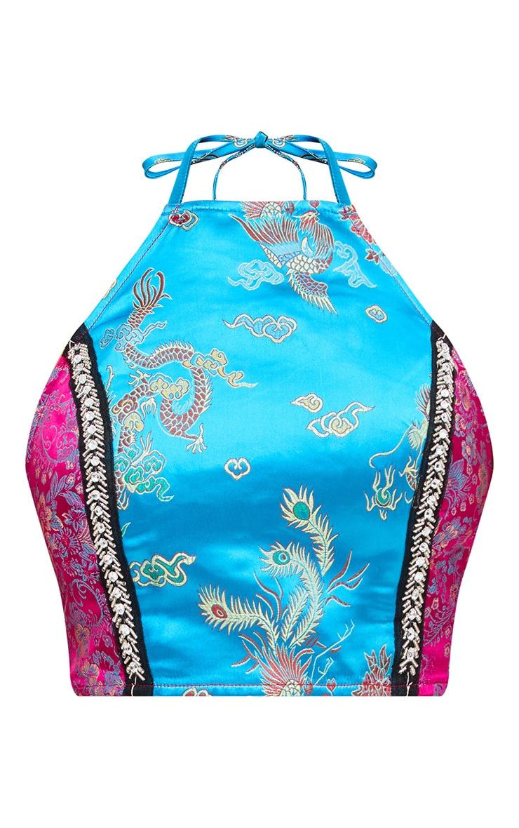 Premium Blue Jacquard Embellished Crop Top 4