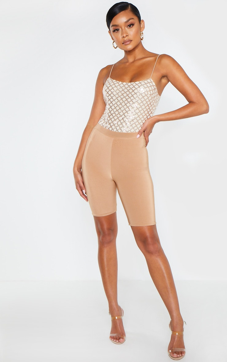 Rose Gold Strappy Sequin Straight Neck Bodysuit 5