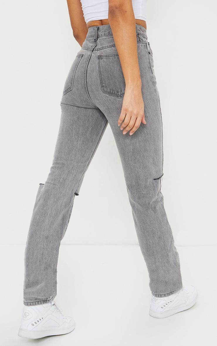 Washed Grey Slash Knee Long Leg Straight Leg Jean 3