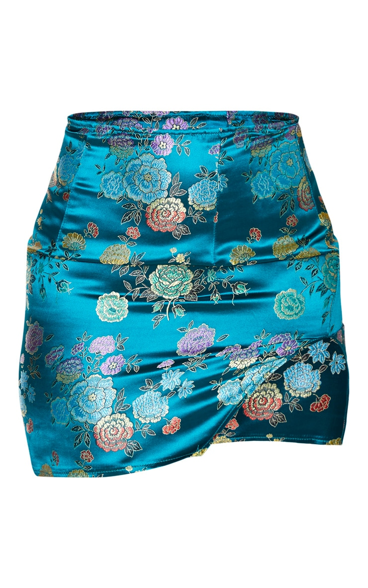 Petrol Blue Woven Jacquard Print Mini Skirt 3