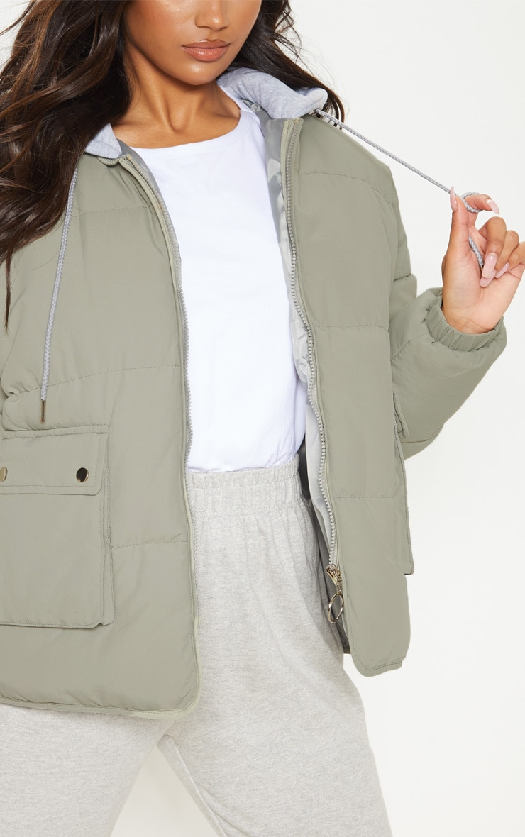 Sage Peach Skin Oversized Hooded Puffer 5