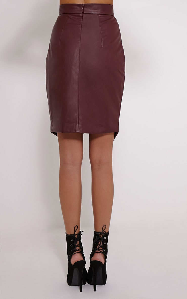 Greer Berry Faux Leather Wrap Midi Skirt 4