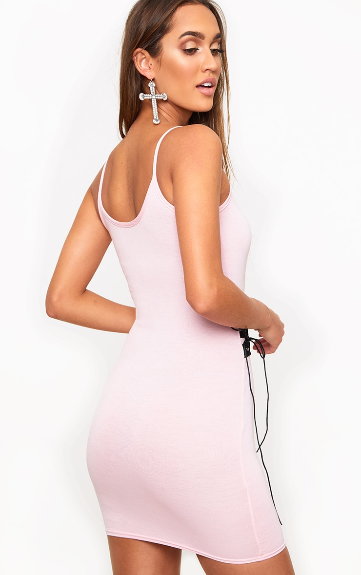 Pink Lace Panel Bodycon Dress 2