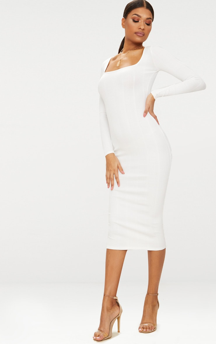 White Bandage Long Sleeve Square Neck Midaxi Dress 4