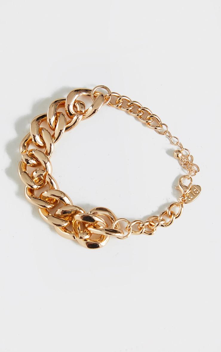 Bracelet doré à doubles maillons ronds 1