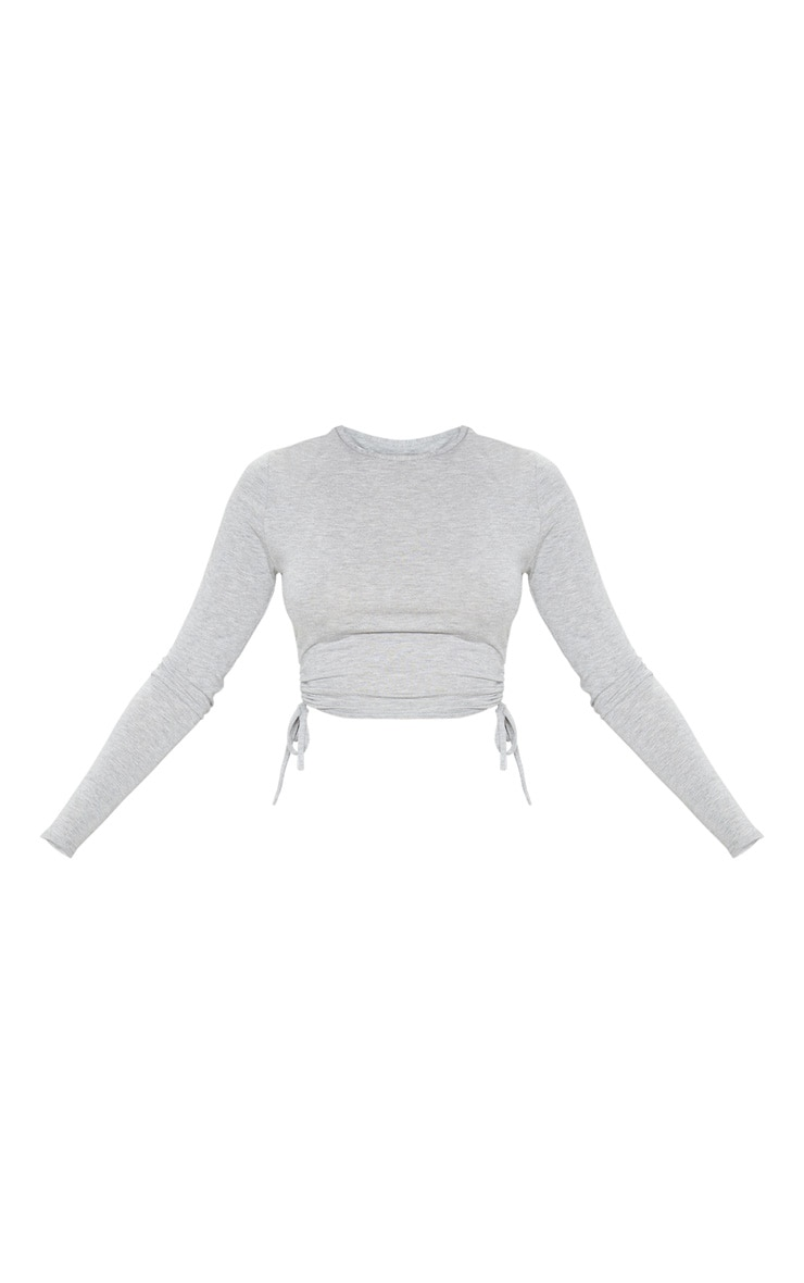 Grey Jersey Ruched Side Long Sleeve Top 4