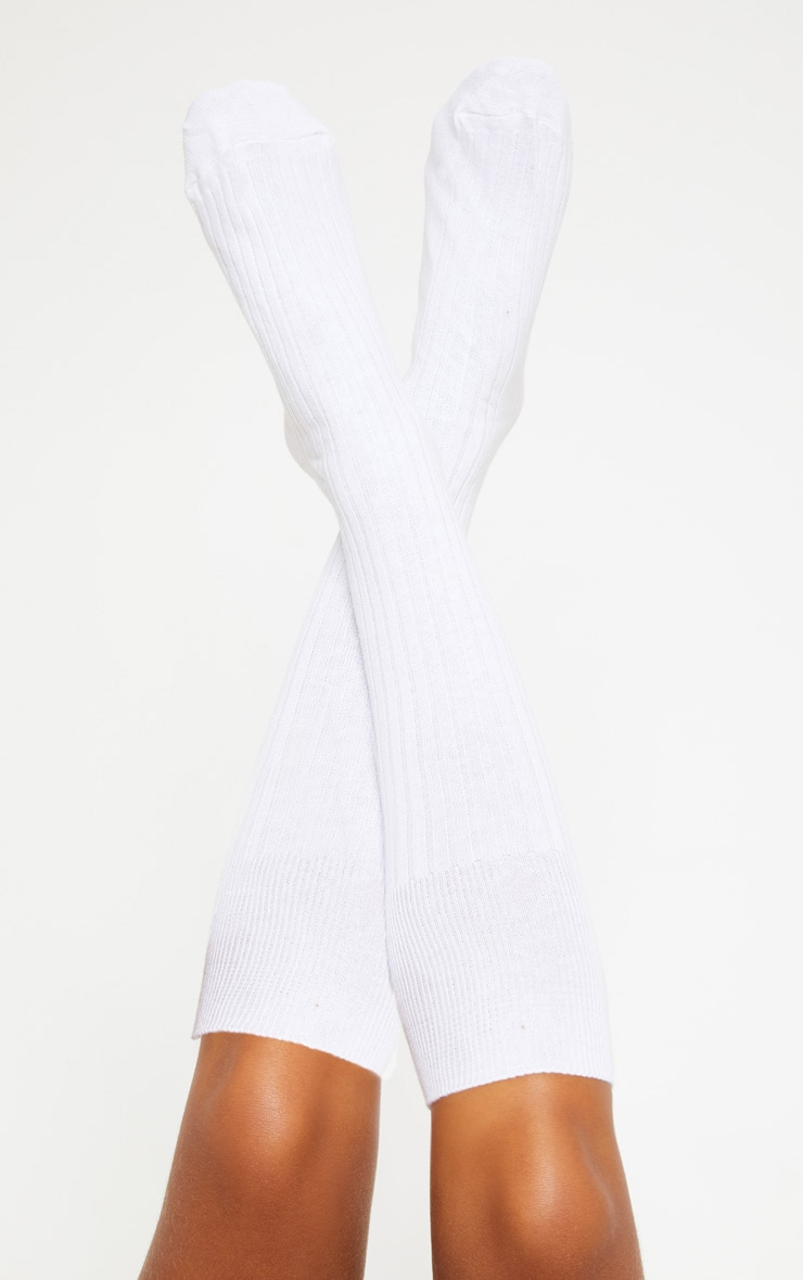White Ribbed Knee High Football Socks 2