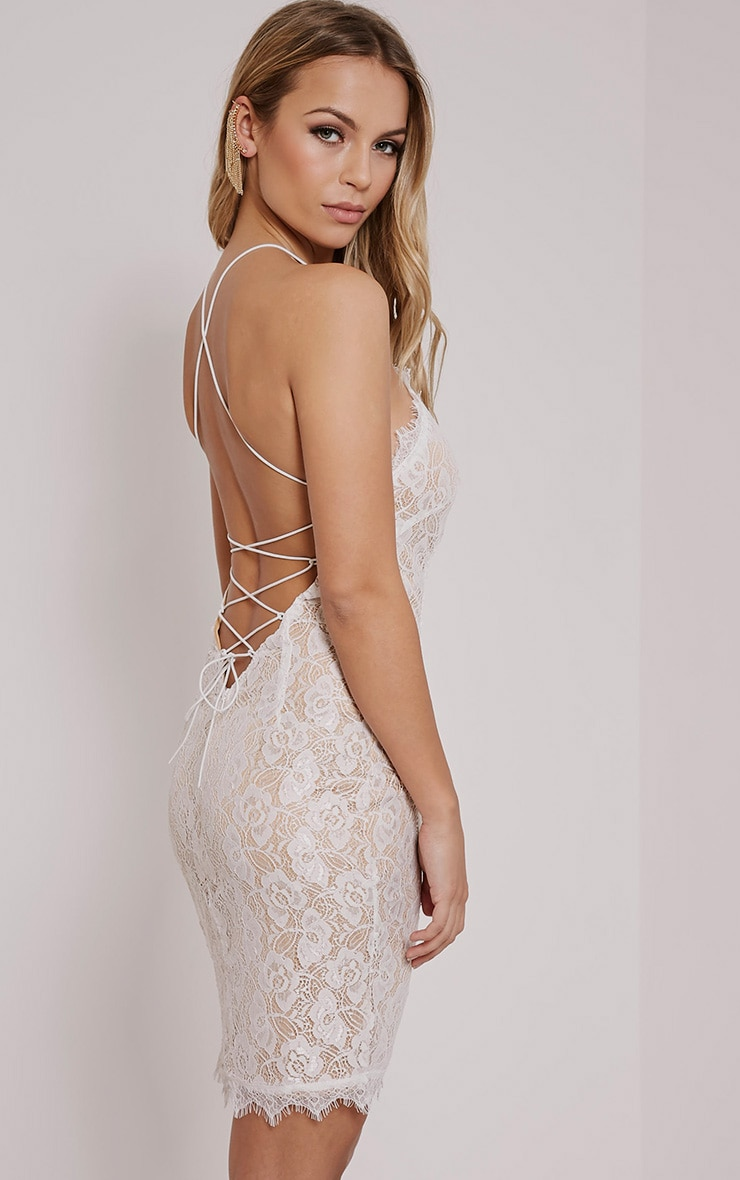 Sierra Cream Cross Back Lace Mini Dress 1