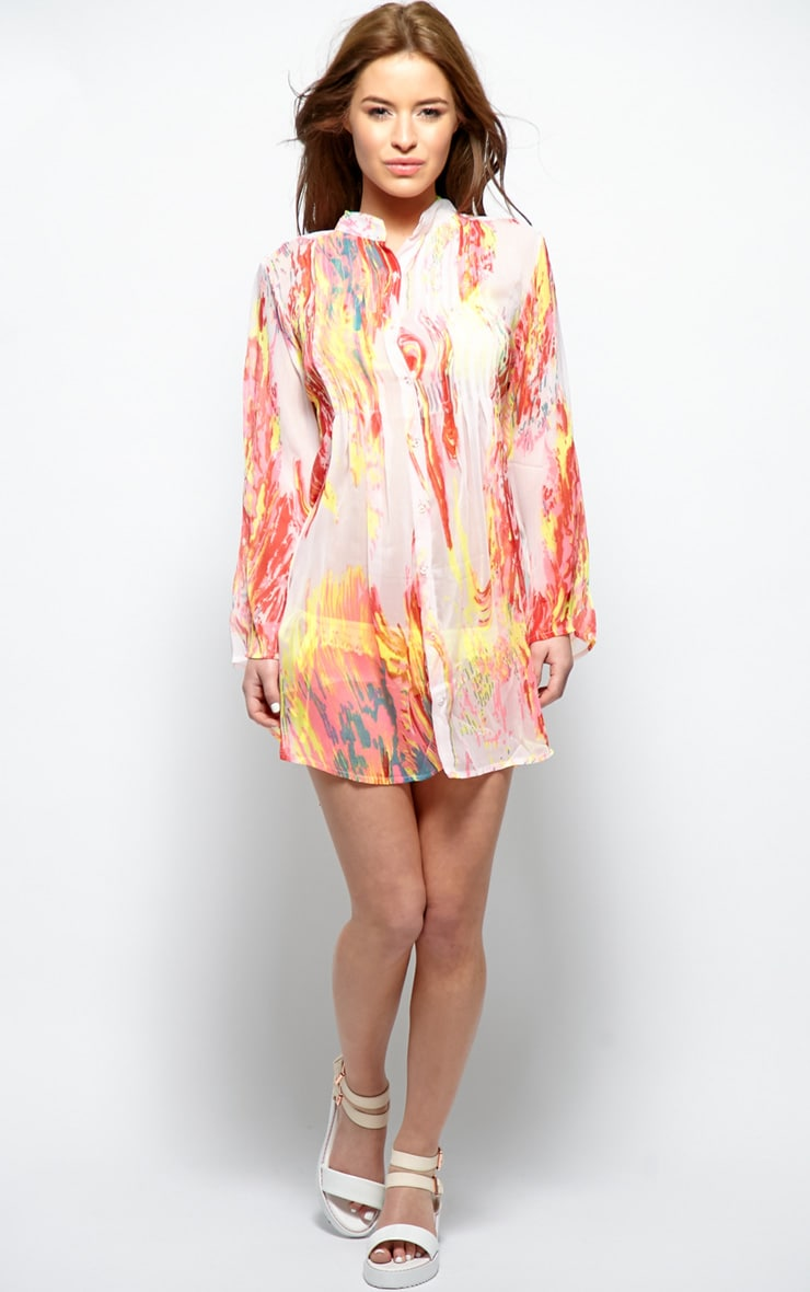 Riya Yellow Fluro Splash Chiffon Shirt 2