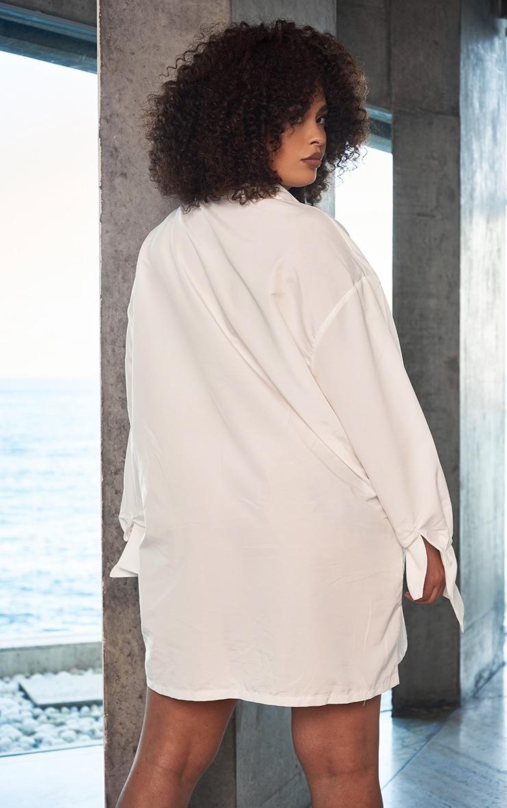 Plus White Plain Oversized Shirt Dress 2