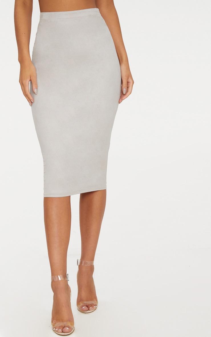 Grey Faux Suede Midi Skirt  2