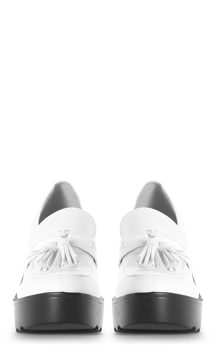 Georgia White Heeled Tassel Loafer  3