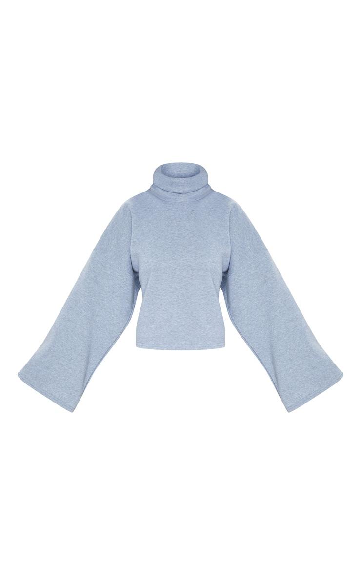 Grey Fleece Roll Neck Sweater 3