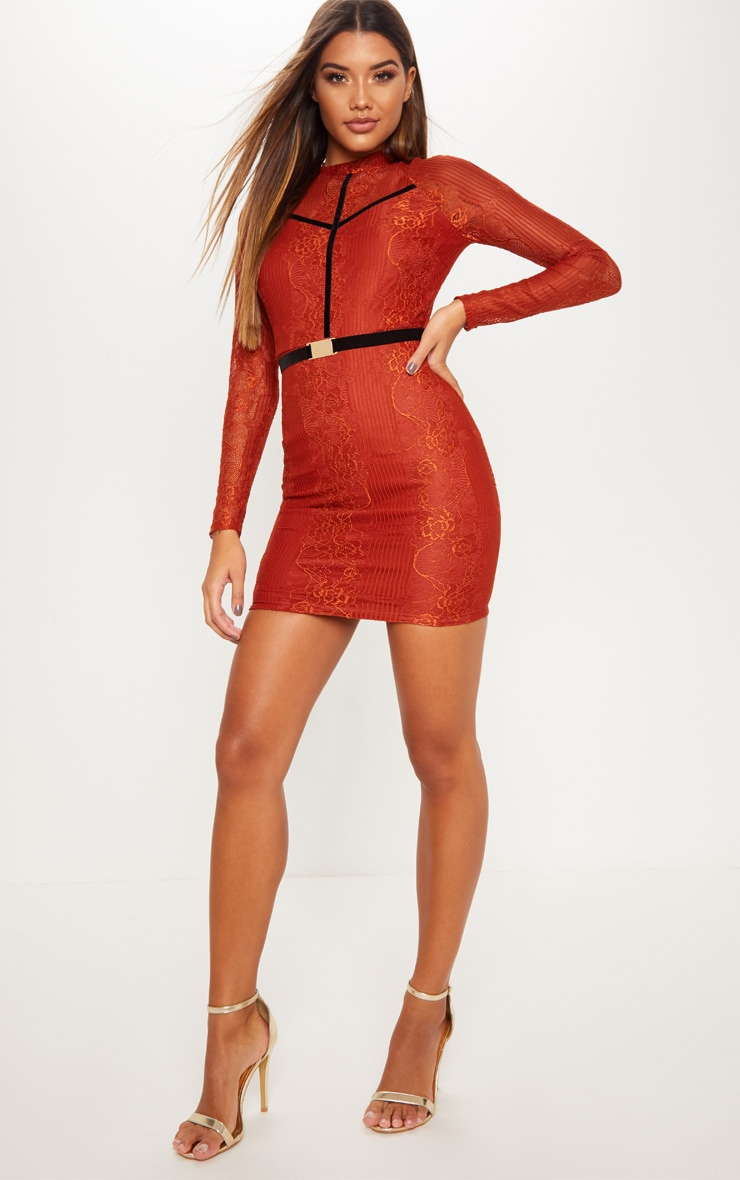 Rust Ribbed Lace Backless Bodycon Dress 1