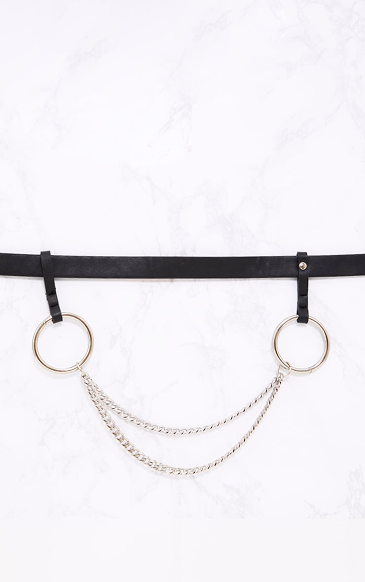 Black Chain Attachment Waist Belt 4