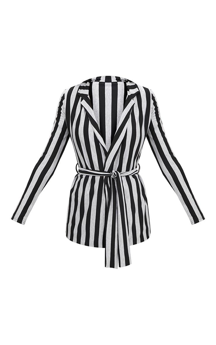Silver Metallic Stripe Belted Blazer 3