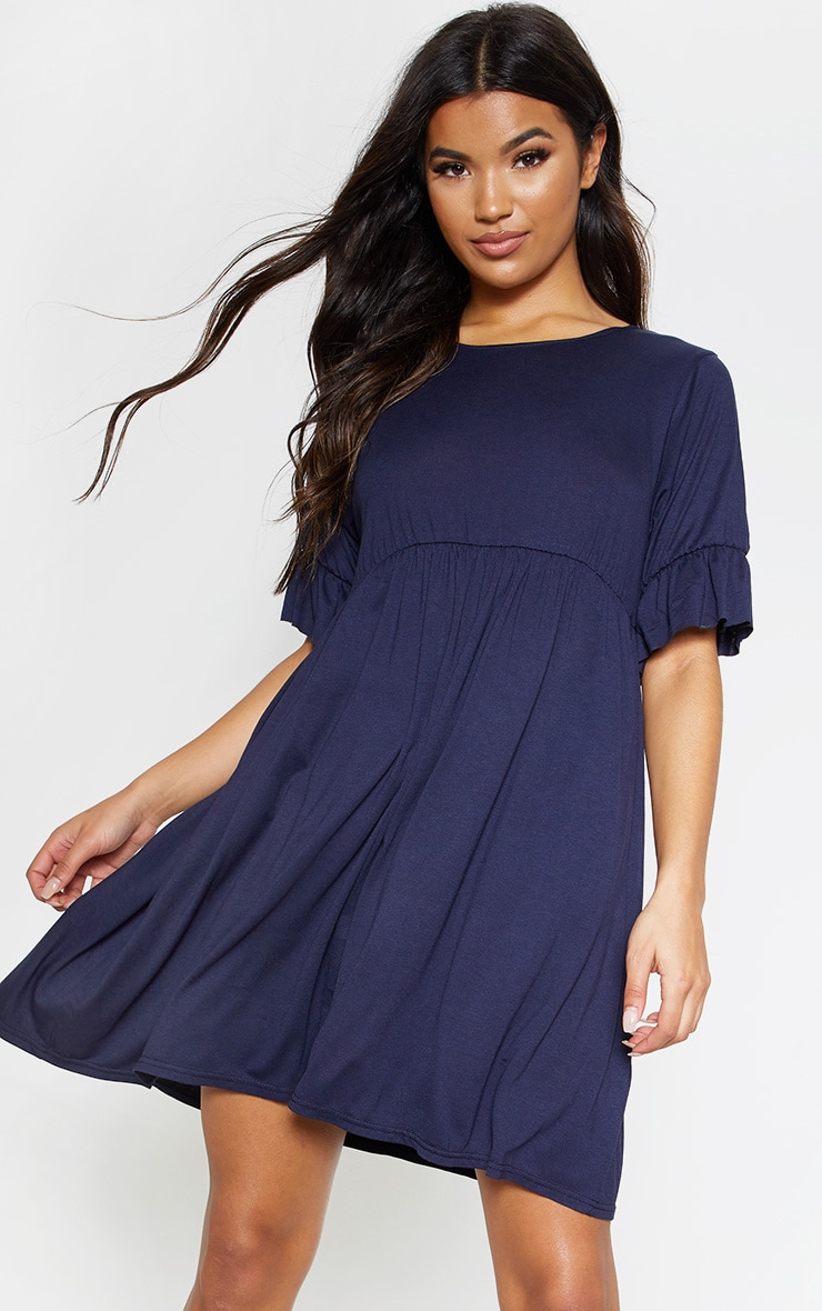 Navy Short Sleeve Smock Dress 1
