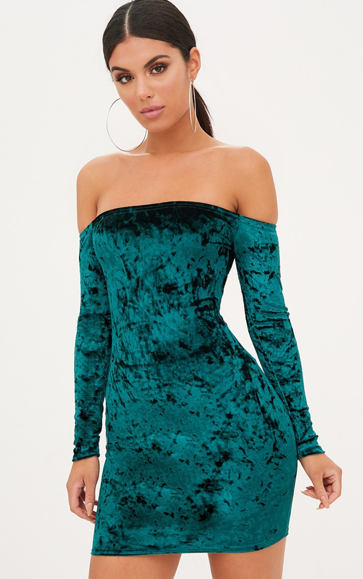 0e2a8e6efd40 Emerald Green Crushed Velvet Bardot Bodycon Dress image 1