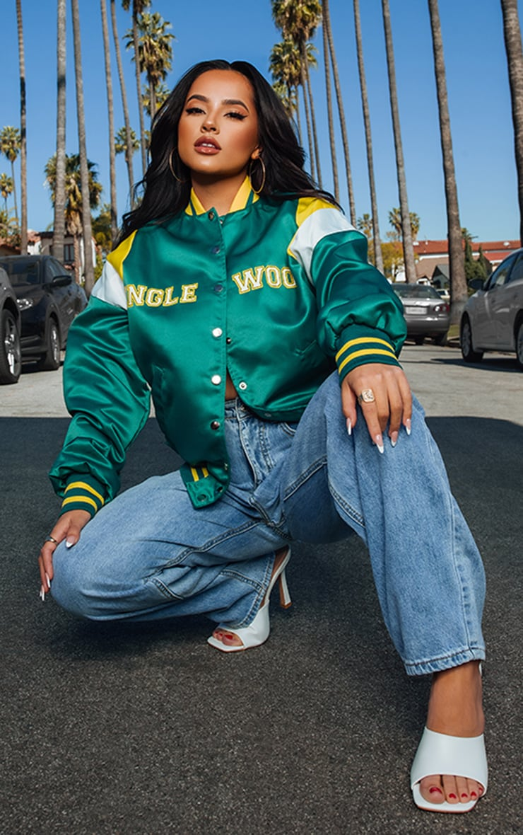 Green Inglewood Oversized Bomber Jacket