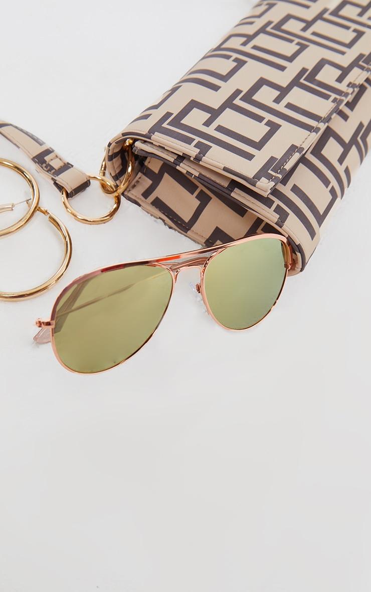 Rose Gold Tinted Lens Aviator Sunglasses 3