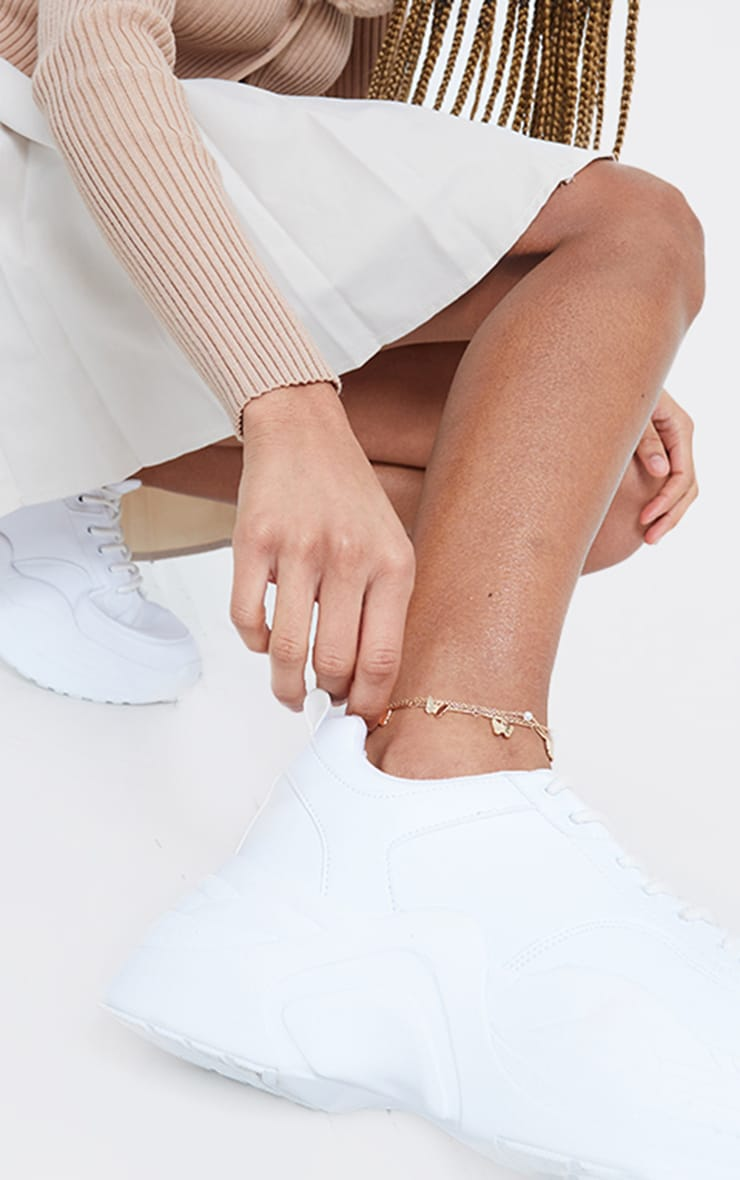 Gold Butterfly And Pearl Dainty Anklet 1