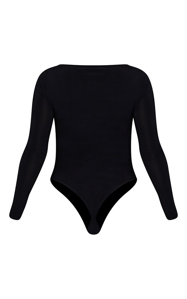 Black V Neck Slinky Bodysuit 6