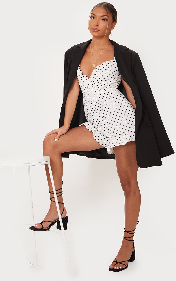 White Polka Dot Frill Trim Strappy Wrap Romper 3